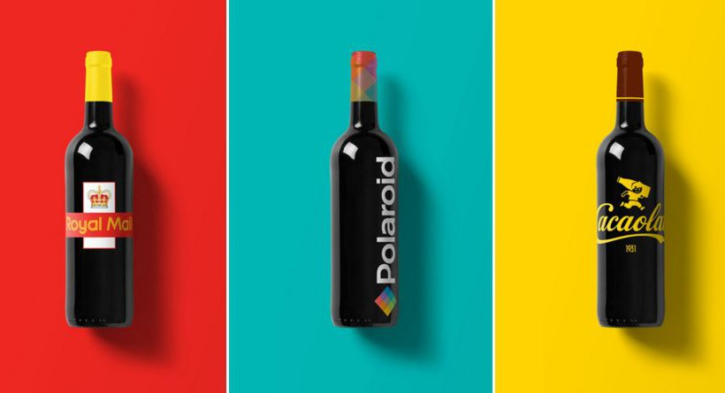 Design : Les logos de marques connues s'invitent sur des bouteilles de vin