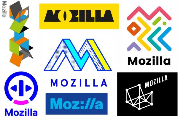 Sept possibilités de logo pour Mozilla